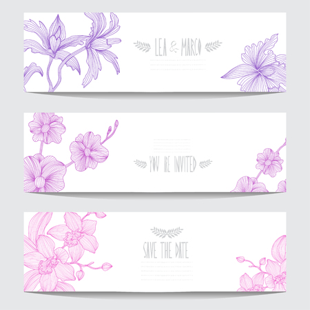 composition art: Elegant cards with orchid flowers, design elements. Can be used for wedding, baby shower, mothers day, valentines day, birthday cards, invitations. Floral banners. Vintage decorative flowers