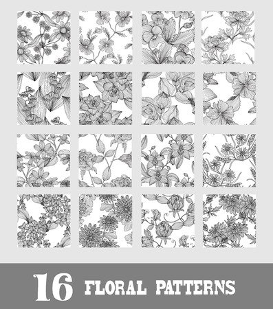 Elegant seamless patterns with hand drawn decorative flowers, design elements. Floral pattern for wedding invitations, greeting cards, scrapbooking, print, gift wrap, manufacturing. Vector