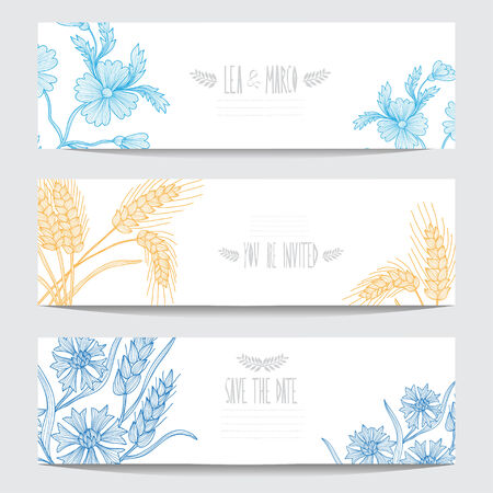 clip art wheat: Elegant cards with decorative flowers, design elements. Can be used for wedding, baby shower, mothers day, valentines day, birthday cards, invitations. Floral banners. Vintage decorative flowers