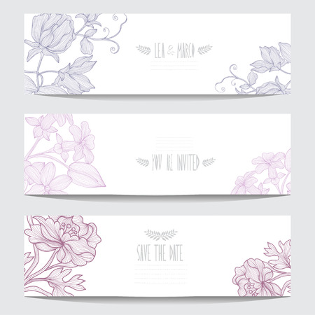 Elegant cards with decorative flowers, design elements. Can be used for wedding, baby shower, mothers day, valentines day, birthday cards, invitations. Floral banners. Vintage decorative flowers Vector