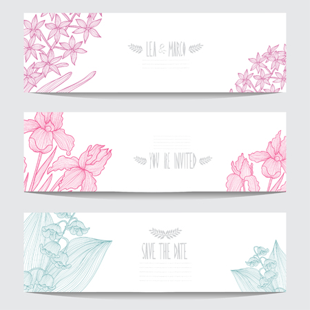 Elegant cards with decorative flowers, design elements. Can be used for wedding, baby shower, mothers day, valentines day, birthday cards, invitations. Floral banners. Vintage decorative flowers