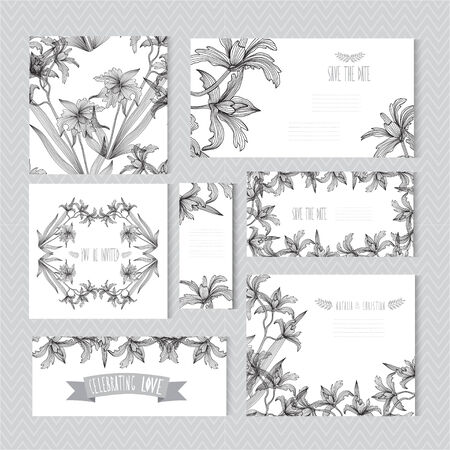 orchid: Elegant cards with decorative orchids, design elements. Can be used for wedding, baby shower, mothers day, valentines day, birthday cards, invitations. Vintage decorative flowers