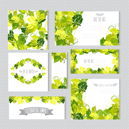 Elegant cards with decorative sweet pea flowers, design elements.  Vector
