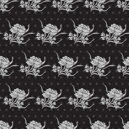 peony black: Elegant seamless pattern in black silver colors with decorative peony flowers, design elements. Floral pattern for invitations, greeting cards, scrapbooking, print, gift wrap, manufacturing Illustration