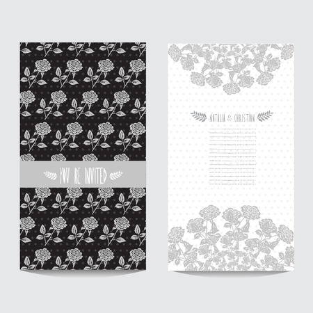 Elegant card in black silver colors with decorative roses, design element. Can be used for wedding, baby shower, mothers day, valentines day, birthday cards, invitations. Vintage decorative flowers Vector
