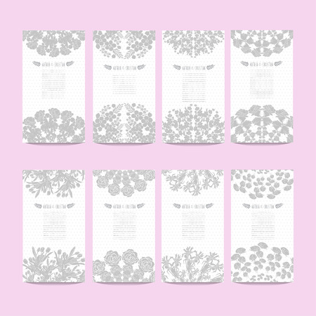 Elegant Cards With Decorative Flowers Design Elements Can Be