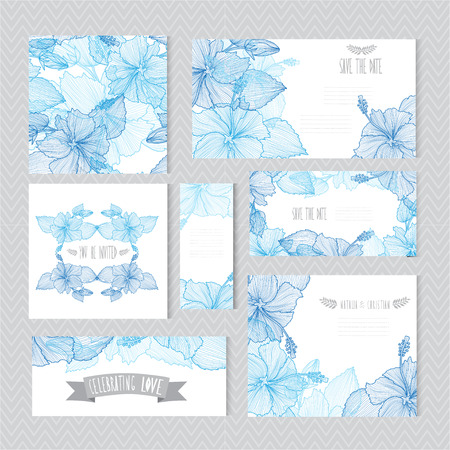 Elegant cards with decorative hibiscus flowers, design elements. Can be used for wedding, baby shower, mothers day, valentines day, birthday cards, invitations, greetings. Vintage decorative flowers.