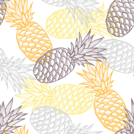 tile pattern: Elegant seamless pattern with hand drawn decorative pineapples, design elements. Can be used for invitations, greeting cards, scrapbooking, print, gift wrap, manufacturing. Food background