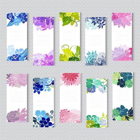 Elegant cards with decorative flowers, design elements. Can be used for wedding, baby shower, mothers day, valentines day, birthday cards, invitations, greetings. Vintage decorative flowers. Vector