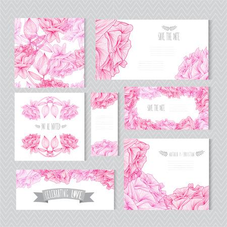 arreglo de flores: Tarjetas elegantes con decoración flores color de rosa, elementos de diseño. Puede ser utilizado para la boda, baby shower, día de madres, día de san valentín, tarjetas de cumpleaños, las invitaciones, saludos. Flores decorativas de la vendimia.