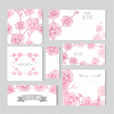 orchid: Elegant cards with decorative orchid flowers, design elements. Can be used for wedding, baby shower, mothers day, valentines day, birthday cards, invitations, greetings. Vintage decorative flowers.