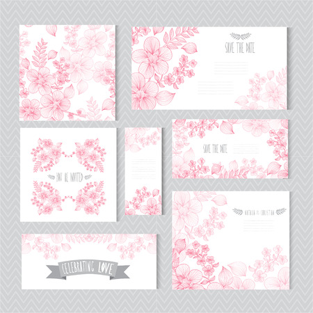 Elegant cards with decorative flowers, design elements. Can be used for wedding, baby shower, mothers day, valentines day, birthday cards, invitations, greetings. Vintage decorative flowers. Stock Illustratie