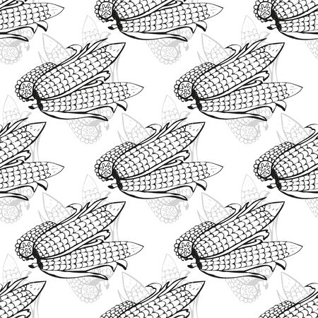 mais: Elegant seamless pattern with hand drawn corns, design elements. Can be used for invitations, greeting cards, scrapbooking, print, gift wrap, manufacturing. Food background