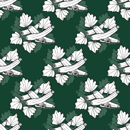 zucchini: Elegant seamless pattern with hand drawn zucchini, design elements.  Illustration