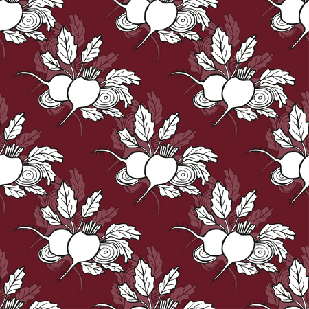 beets: Elegant seamless pattern with hand drawn beets, design elements.
