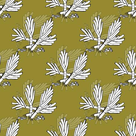 leek: Elegant seamless pattern with hand drawn leek, design elements.