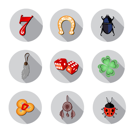signifier: set of 9 flat icons with symbols of luck, design elements