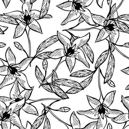Elegant seamless pattern with hand drawn decorative pomelo flowers, design elements. Floral pattern for wedding invitations, greeting cards, scrapbooking, print, gift wrap, manufacturing. Vettoriali