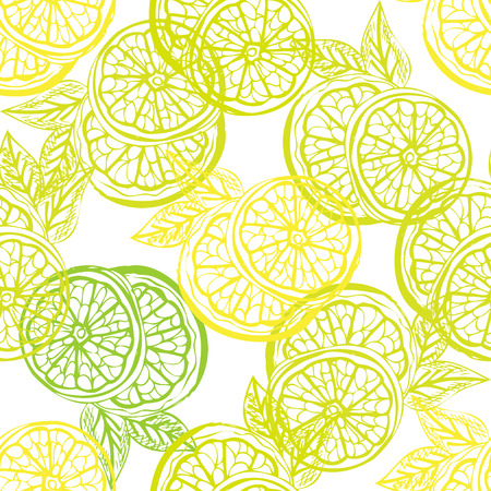Elegant seamless pattern with hand drawn decorative lemon fruits, design elements. Can be used for invitations, greeting cards, scrapbooking, print, gift wrap, manufacturing. Food background Vettoriali