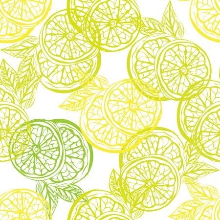 limonero: Modelo incons�til elegante con dibujado a mano frutas lim�n decorativas, elementos de dise�o. Puede ser utilizado para las invitaciones, tarjetas de felicitaci�n, scrapbooking, de impresi�n, papel de regalo, de fabricaci�n. Fondo de alimentos Vectores