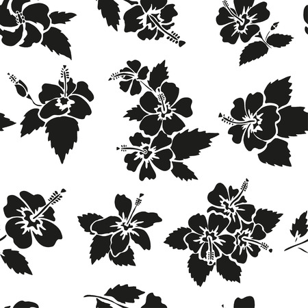 Elegant seamless pattern with hand drawn decorative hibiscus flowers, design elements. Floral pattern for wedding invitations, greeting cards, scrapbooking, print, gift wrap, manufacturing. Vector