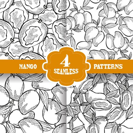 mango leaf: Elegant seamless patterns set with hand drawn decorative mango fruits, design elements. Can be used for invitations, greeting cards, scrapbooking, print, gift wrap, manufacturing. Food background Illustration