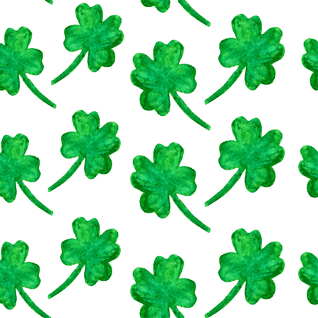 four leaf: Elegant seamless pattern with watercolor painted four leaf clovers, design elements. Floral pattern for invitations, greeting cards, scrapbooking, print, gift wrap, manufacturing. St Patricks Day Illustration
