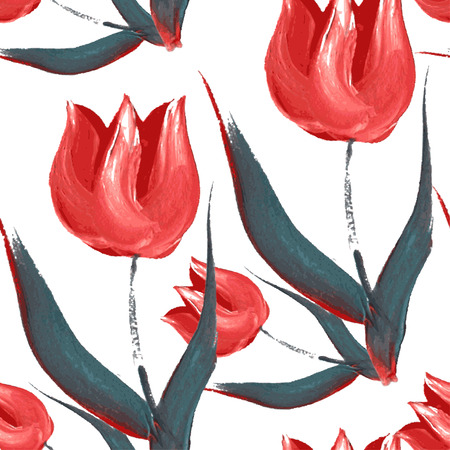 Elegant seamless pattern with oil painted red tulip flowers, design elements. Floral pattern for wedding invitations, greeting cards, scrapbooking, print, gift wrap, manufacturing Vector