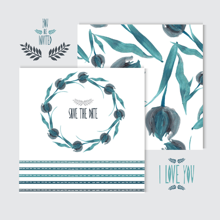 cadeaupapier: Elegant olie geschilderde bloemen kaarten, design elementen. Kan gebruikt worden voor het huwelijk, baby douche, moeders dag, Valentijnsdag, verjaardagskaarten, uitnodigingen, banners, flyers, cadeaupapier, print, fabricage