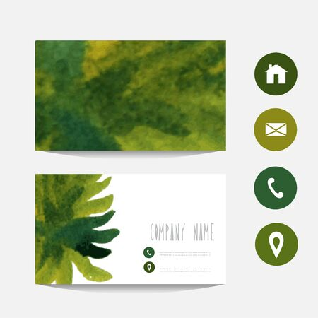 vectorized: Watercolor business card template, design element. Can be used also for greeting cards, banners, invitations. Vectorized watercolor background