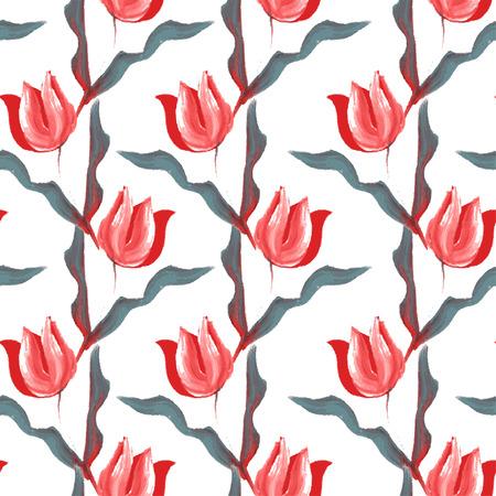 tulipe rouge: Seamless �l�gant avec huile peinte fleurs de tulipes rouges, des �l�ments de conception. Motif floral pour les invitations de mariage, cartes de v?ux, scrapbooking, d'impression, emballage cadeau, fabrication