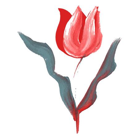 tulipe rouge: Huile d�coratif peint en rouge fleur de tulipe, �l�ment de design. Peut �tre utilis� pour le mariage, baby shower, f�te des m�res, cartes de jour de valentines, invitations. Fleur peinte