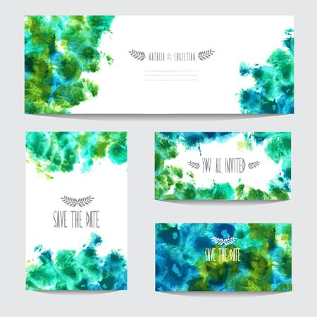 green day baby blue background: Elegant watercolor cards, design elements. Can be used for wedding, baby shower, mothers day, valentines day, birthday cards, invitations, banners, flyers, gift wrap, print, manufacturing