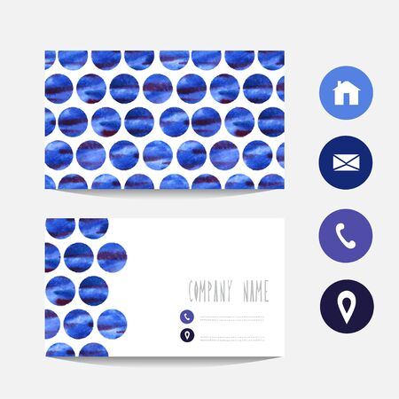 vectorized: Watercolor business card template with abstract blue dots, design element. Can be used also for greeting cards, banners, invitations. Vectorized watercolor background