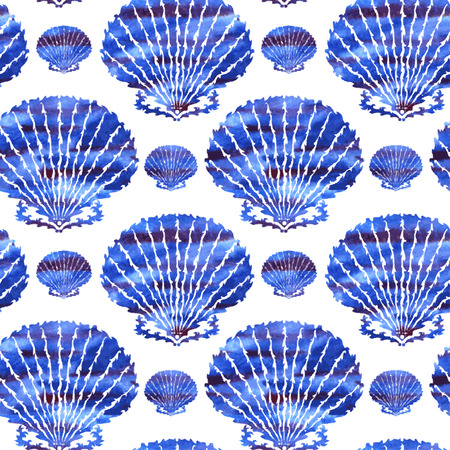endless repeat structure: Elegant seamless pattern with watercolor seashells, design elements. Marine pattern for invitations, greeting cards, scrapbooking, print, gift wrap, manufacturing. Summer, vacation background