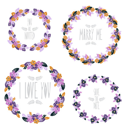 pansy: Elegant floral frames with pansy flowers, design elements. Can be used for wedding, baby shower, mothers day, valentines day, birthday cards, invitations. Vintage decorative flowers.