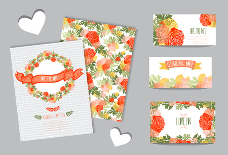 Elegant cards with floral wreath, design elements. Can be used for wedding, baby shower, mothers day, valentines day, birthday cards, invitations. Vintage decorative flowers. Vector