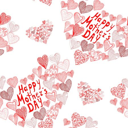 Elegant seamless pattern with abstract hearts, design elements. Mothers day background