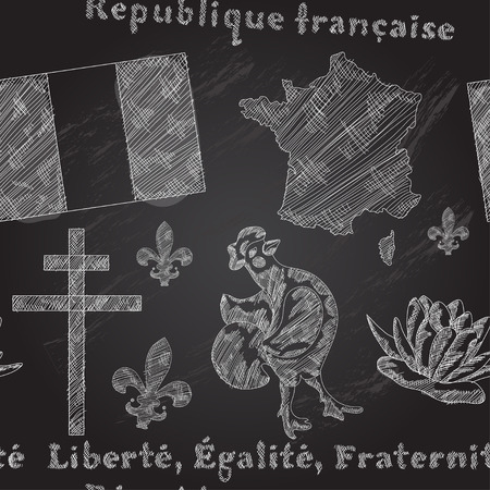 fleur de lis: Elegant seamless pattern with principal symbols of France, map, flag and slogan. Design element. Chalkboard background Illustration