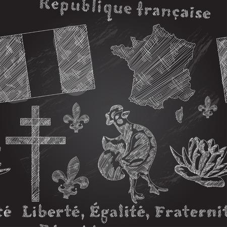 Elegant seamless pattern with principal symbols of France, map, flag and slogan. Design element. Chalkboard background Illustration