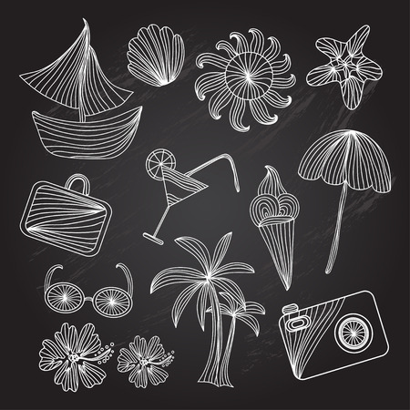 Set of principal vacation and summer season icons, design elements. Chalkboard background Vector