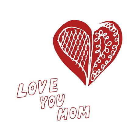 love mom: Mothers day background with Love You Mom words and abstract heart, design element