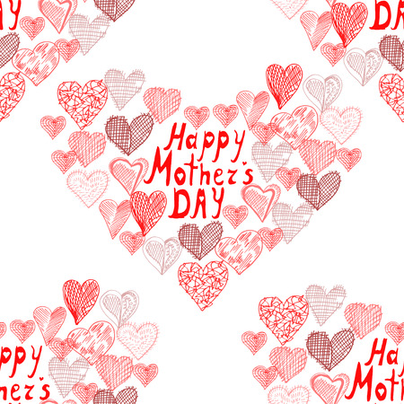 mothers day background: Elegant seamless pattern with abstract hearts, design elements. Mothers day background