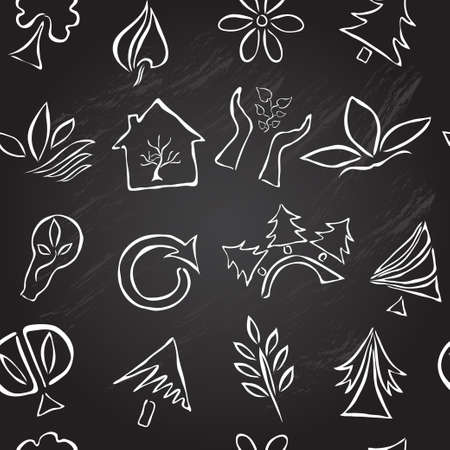 Elegant seamless pattern with nature and ecology symbols, design element. Chalkboard background Vector