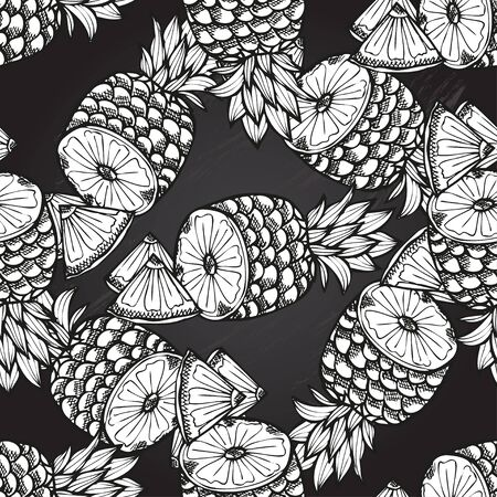 pineapple: Elegant seamless pattern with hand drawn decorative pineapples, design elements. Can be used for invitations, greeting cards, scrapbooking, print, gift wrap, manufacturing. Chalkboard food background Illustration