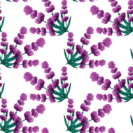 lavender oil: Elegant seamless pattern with oil painted lavender flowers, design elements.