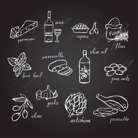 Hand drawn principal italian food ingredients, design elements. Illustration