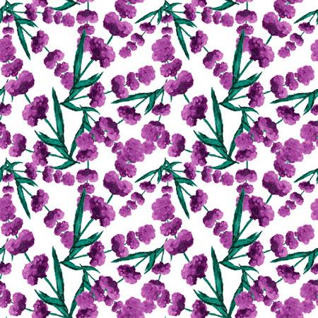 lavender oil: Elegant seamless pattern with oil painted lavender flowers, design elements.  Illustration