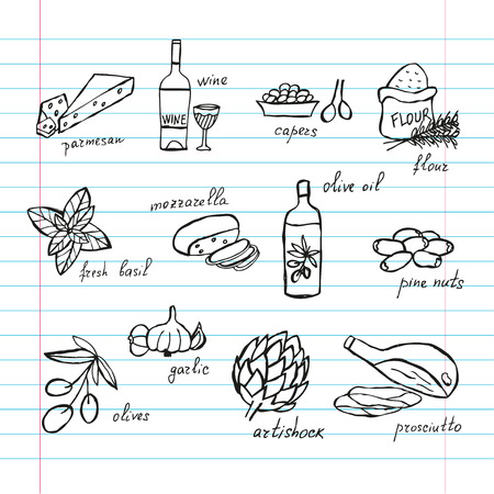 principal: Hand drawn decorative principal italian food ingredients, design elements. Can be used for cards, invitations, gift wrap, print, scrapbooking. Kitchen theme