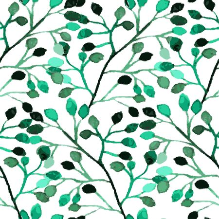 repeat texture: Elegant seamless pattern with watercolor painted branches with leaves, design elements Illustration